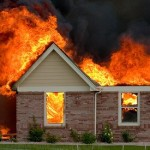 house on fire burning