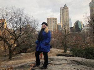 Amy Alton in Central Park with a bioscarf.