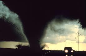 Car escaping a tornado